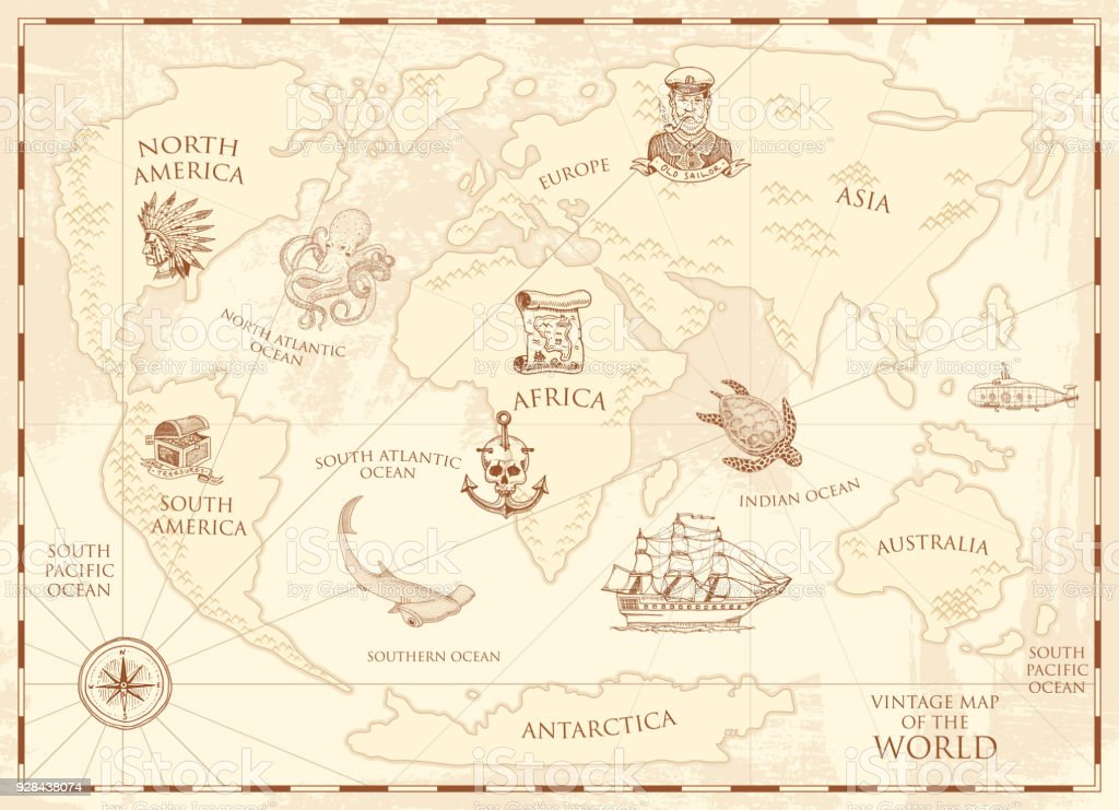 Vintage World Map With Compass And Mountains Sea Creatures In The ...