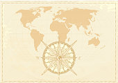 Vintage word map grunge background with retro compass. Vector illustration. The base map is from NASA.