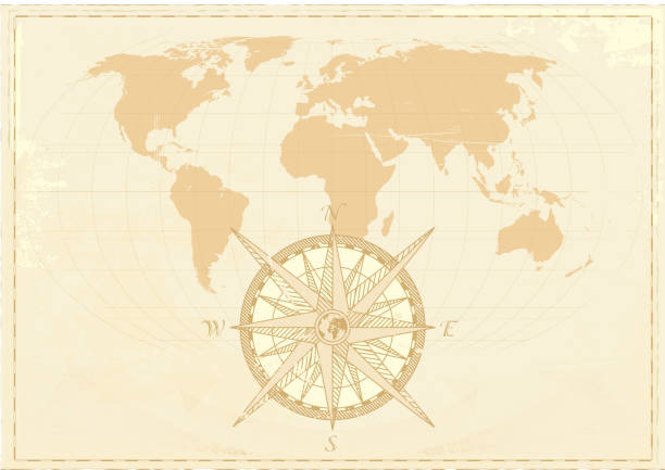 Vintage world map with compass Vintage word map grunge background with retro compass. Vector illustration. The base map is from NASA.  south africa stock illustrations