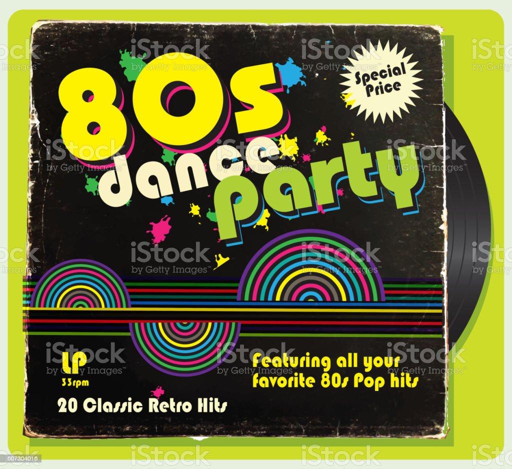 Vintage Worn 80s Vinyl Compilation With Retro Design Stock