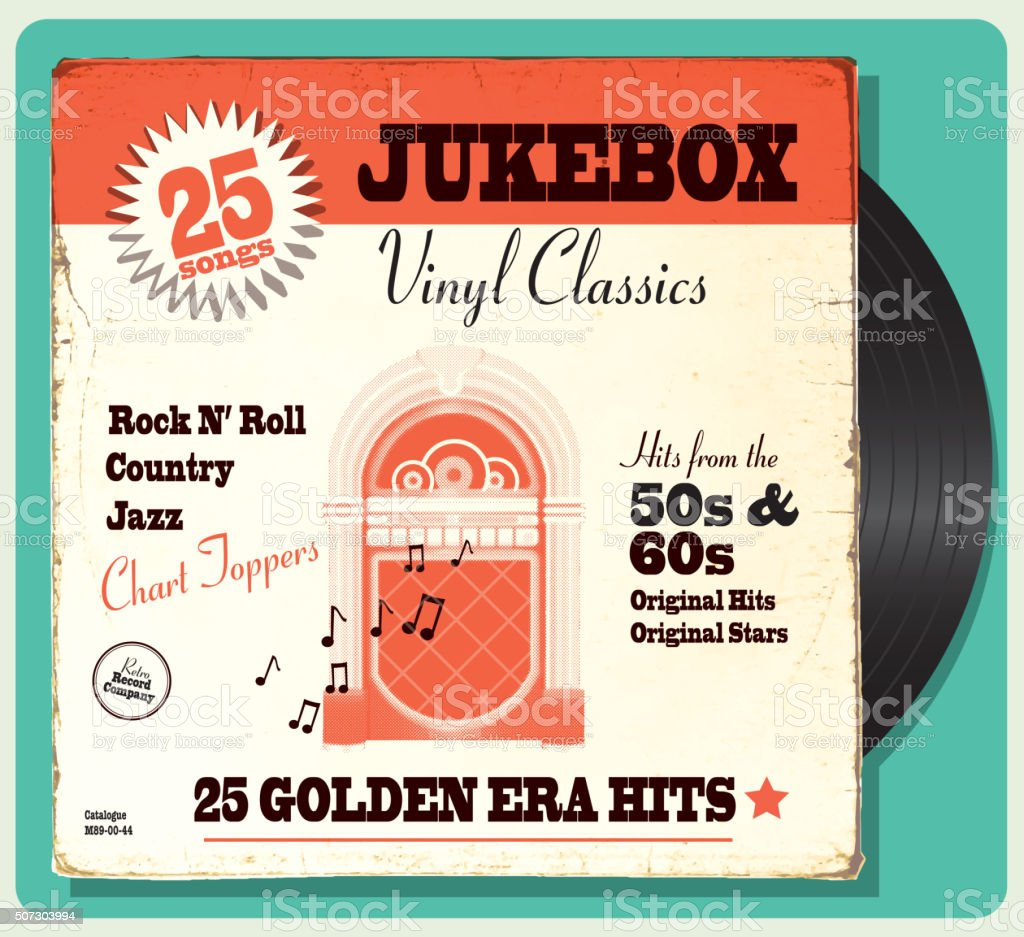 Vintage worn oldies jukebox compilation with retro design vector art illustration
