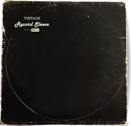 Vintage worn Vinyl Record Sleeve blank in black