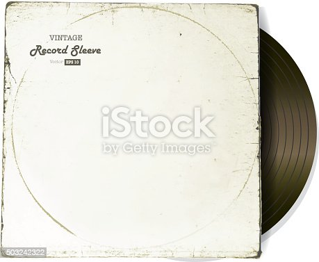 istock Vintage worn Vinyl Record Sleeve blank in white with record 503242322