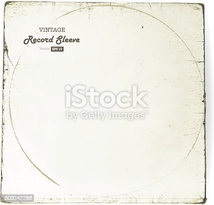 istock Vintage worn Vinyl Record Sleeve blank in worn white 503242288