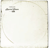 istock Vintage worn Vinyl Record Sleeve blank in worn white 503242288