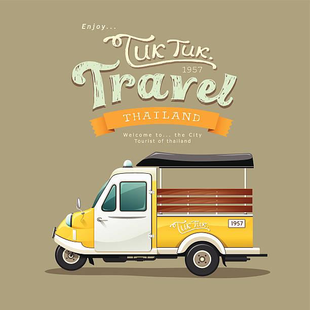 retro yellow motor-dreirad tuk tuk, thailand - ayutthaya stock-grafiken, -clipart, -cartoons und -symbole