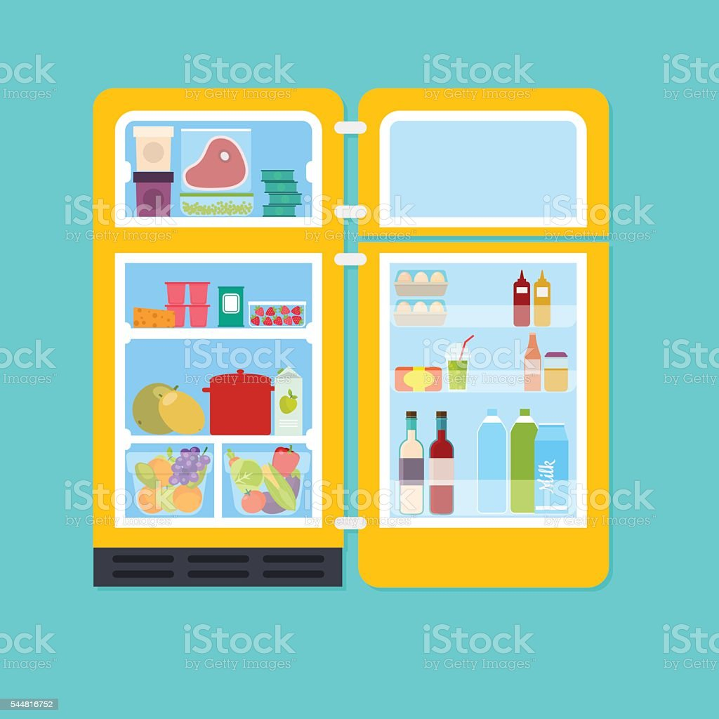 Vintage yellow open refrigerator full of fresh fruits and vegeta vector art illustration