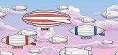 Vintage zeppelin horizontal seamless pattern