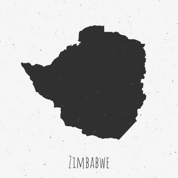 vintage simbabwe karte mit retro-stil, auf staubigen weißen hintergrund - salisbury stock-grafiken, -clipart, -cartoons und -symbole