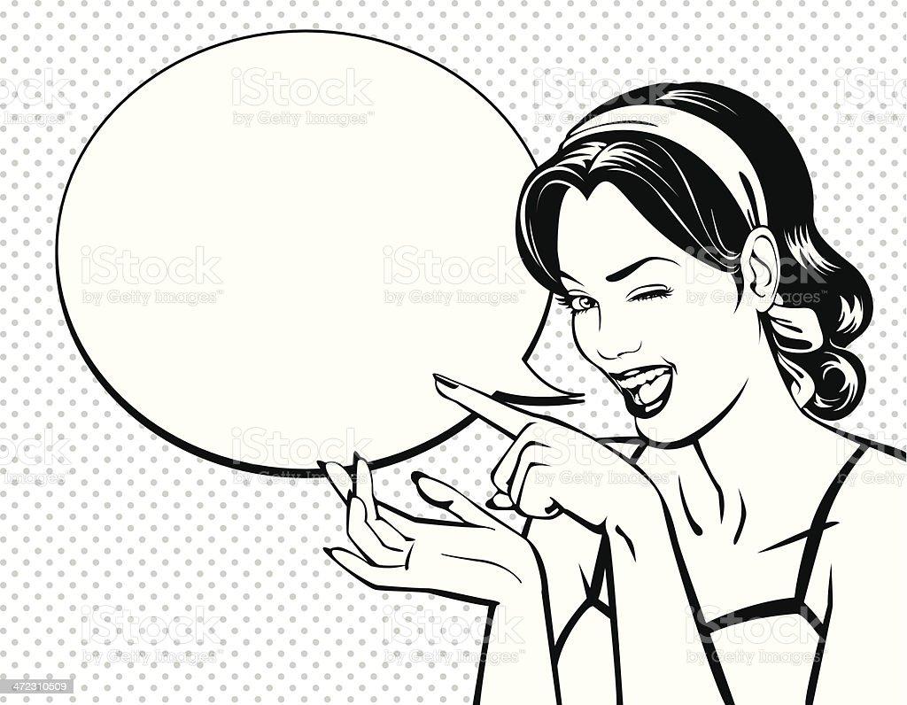 Vintage_winking_woman vector art illustration