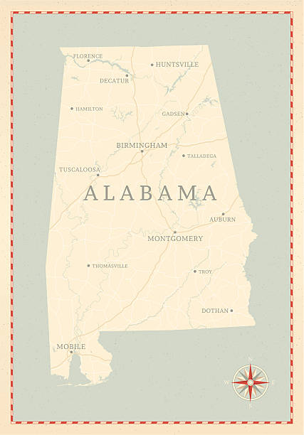 빈티지 스타일 앨라바마 맵 - alabama stock illustrations