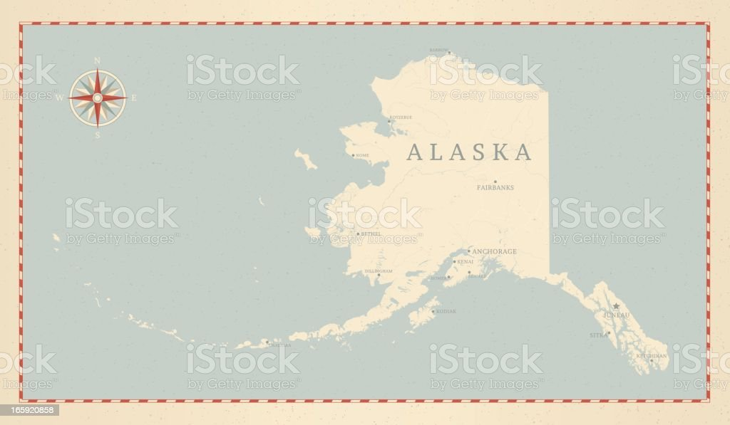 Vintage-Style Alaska Map vector art illustration