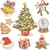 Hand drawn vector Christmas design elements in vintage style. Strokes are expanded.