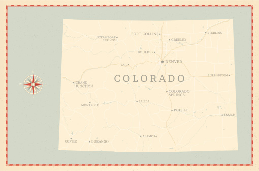 A vintage-style map of Colorado with freeways, highways and major cities. Shoreline, lakes and rivers are very detailed. Includes an EPS and JPG of the map without roads and cities. Texture, compass, cities, etc. are on separate layers for easy removal or changes.