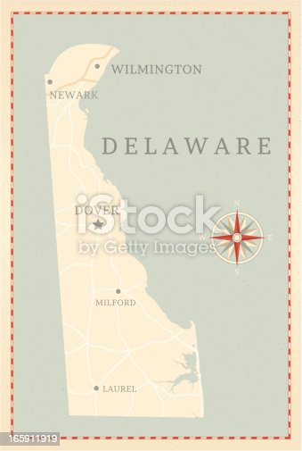 A vintage-style map of Delaware with freeways, highways and major cities. Shoreline, lakes and rivers are very detailed. Includes an EPS and JPG of the map without roads and cities. Texture, compass, cities, etc. are on separate layers for easy removal or changes.
