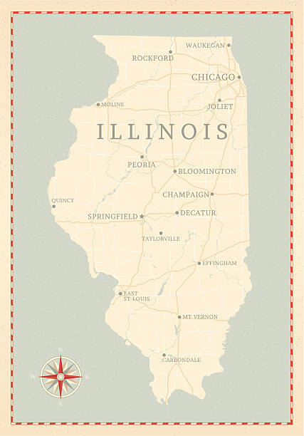 Vintage-Style Illinois Map A vintage-style map of Illinois with freeways, highways and major cities. Shoreline, lakes and rivers are very detailed. Includes an EPS and JPG of the map without roads and cities. Texture, compass, cities, etc. are on separate layers for easy removal or changes.  champaign illinois stock illustrations