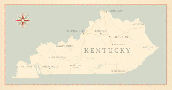 A vintage-style map of Kentucky with freeways, highways and major cities. Shoreline, lakes and rivers are very detailed. Includes an EPS and JPG of the map without roads and cities. Texture, compass, cities, etc. are on separate layers for easy removal or changes.