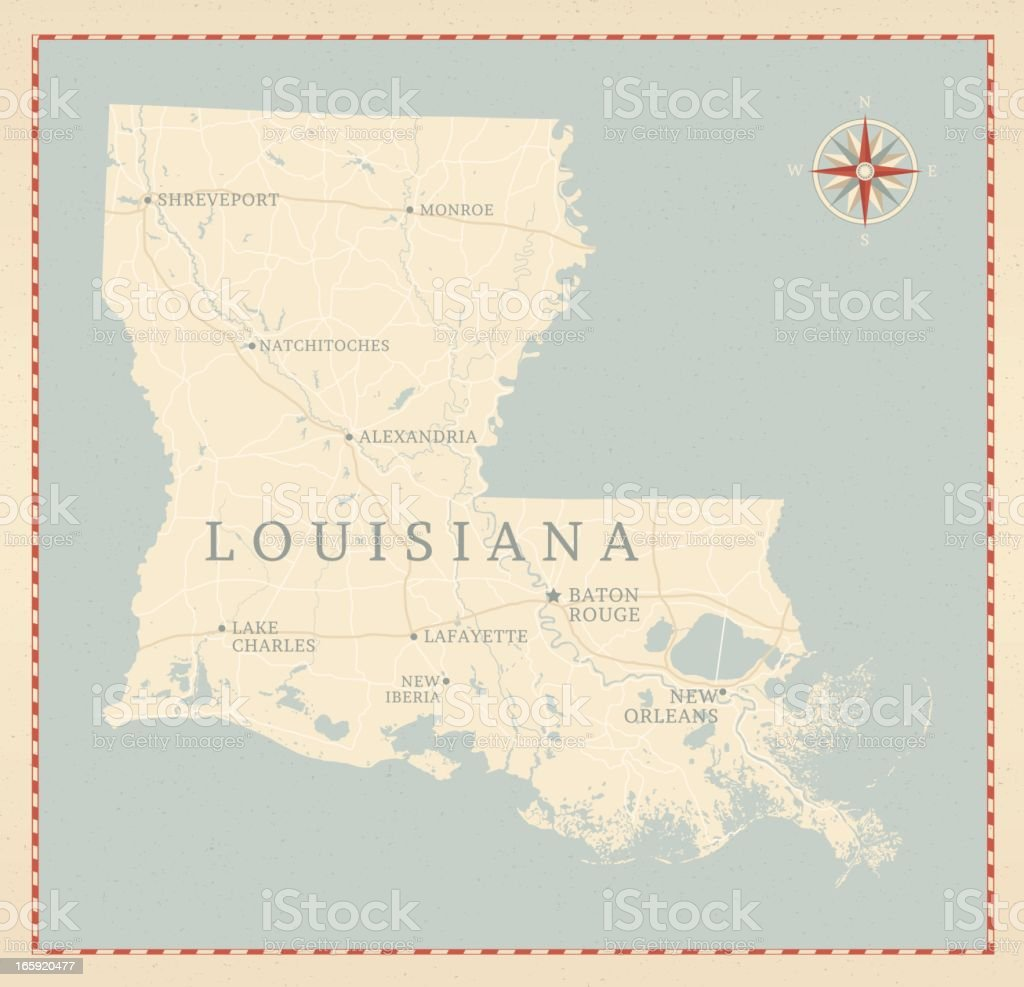 Vintage-Style Louisiana Map vector art illustration
