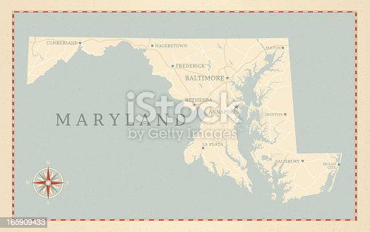 A vintage-style map of Maryland with freeways, highways and major cities. Shoreline, lakes and rivers are very detailed. Includes an EPS and JPG of the map without roads and cities. Texture, compass, cities, etc. are on separate layers for easy removal or changes.