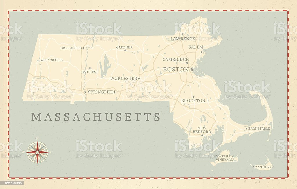 Vintage-Style Massachusetts Map vector art illustration