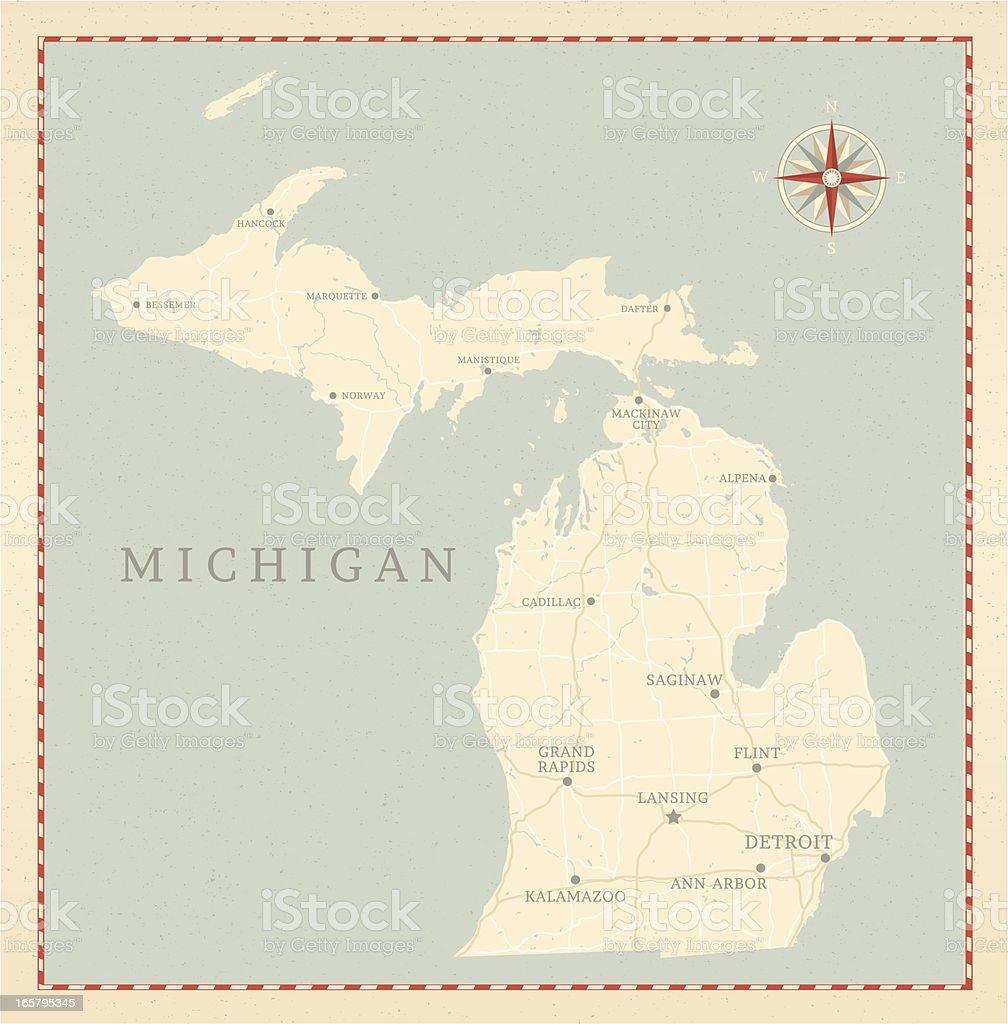 Vintage-Style Michigan Map vector art illustration