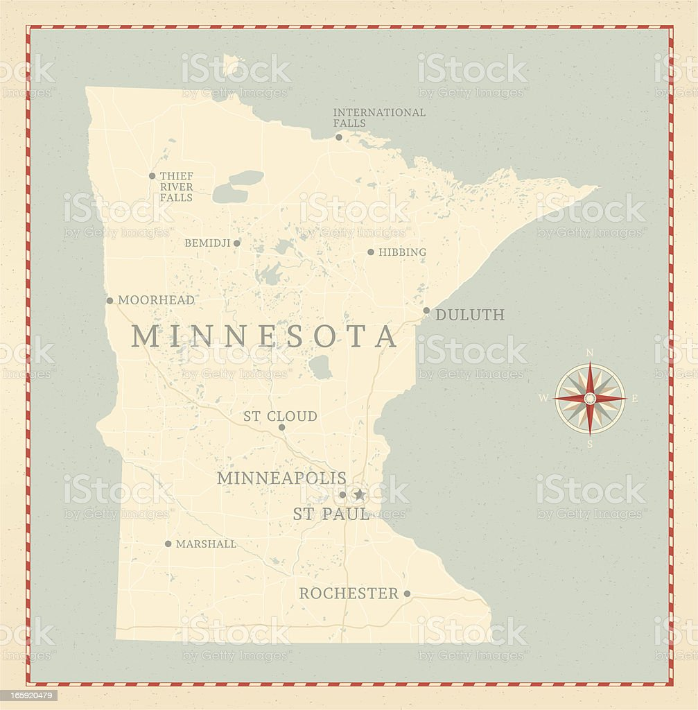 Vintage-Style Minnesota Map vector art illustration
