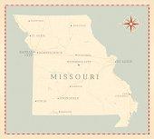 Vintage-Style Missouri Map