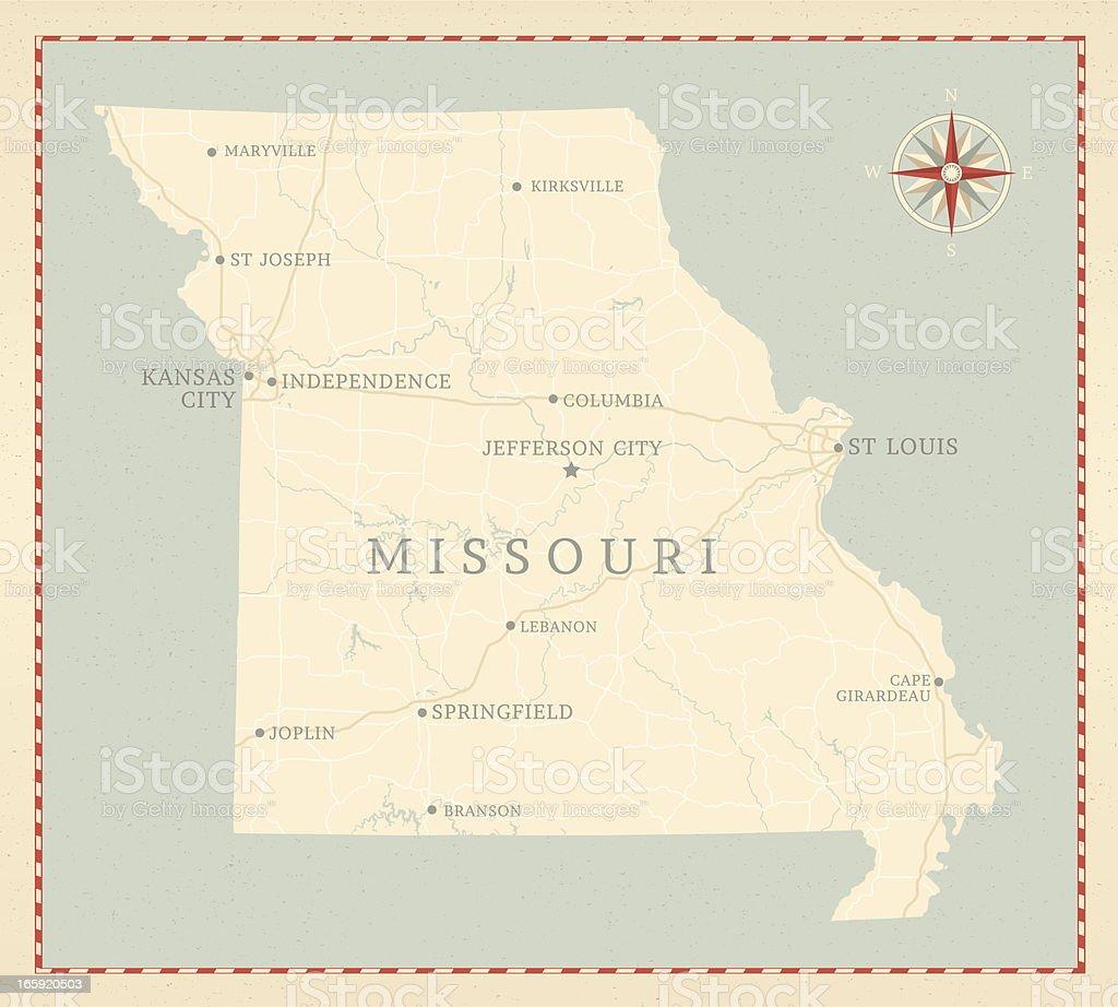 Vintage-Style Missouri Map vector art illustration