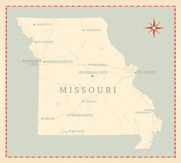 винтажном стиле карта миссури - missouri stock illustrations