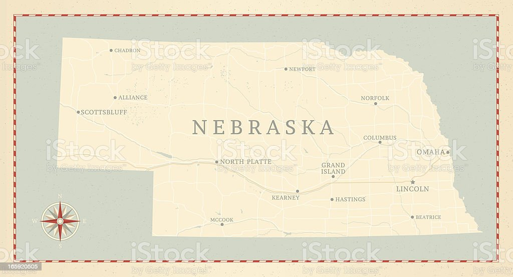 Vintage-Style Nebraska Map vector art illustration