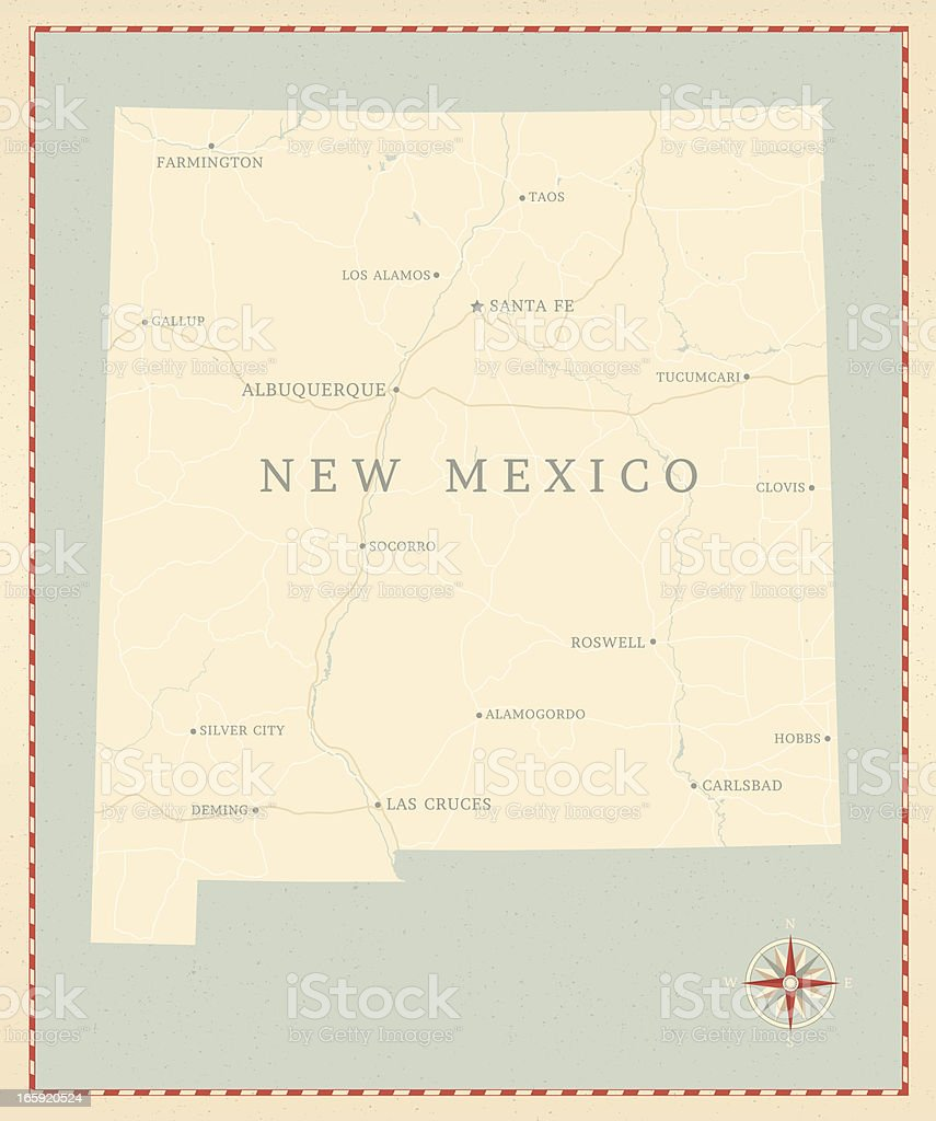 Vintage-Style New Mexico Map vector art illustration