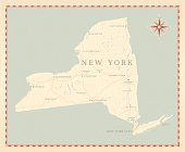 Vintage-Style New York State Map