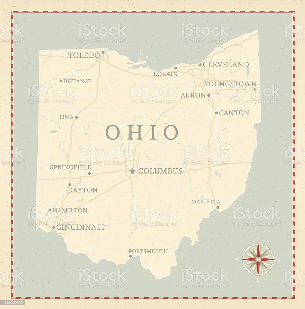 Vintage-Style Ohio Map vector art illustration