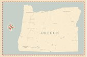 A vintage-style map of Oregon with freeways, highways and major cities. Shoreline, lakes and rivers are very detailed. Includes an EPS and JPG of the map without roads and cities. Texture, compass, cities, etc. are on separate layers for easy removal or changes.