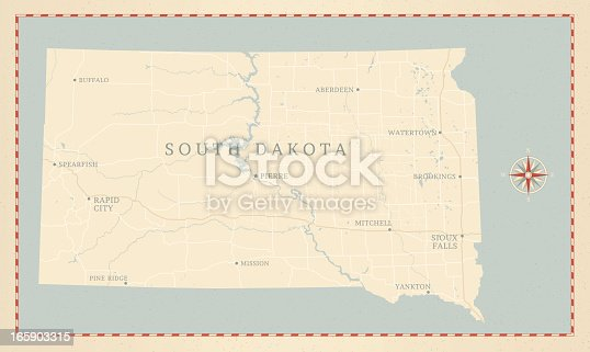 A vintage-style map of South Dakota with freeways, highways and major cities. Shoreline, lakes and rivers are very detailed. Includes an EPS and JPG of the map without roads and cities. Texture, compass, cities, etc. are on separate layers for easy removal or changes.