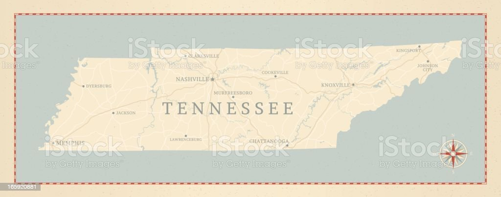 Vintage-Style Tennessee Map vector art illustration