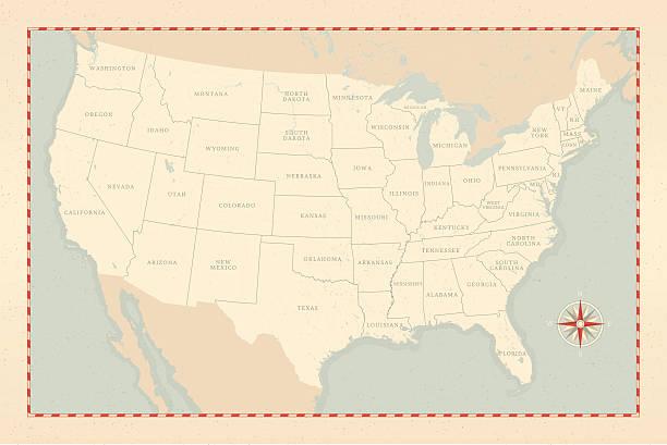 vintage-style u.s. map - vintage maps stock illustrations, clip art, cartoons, & icons