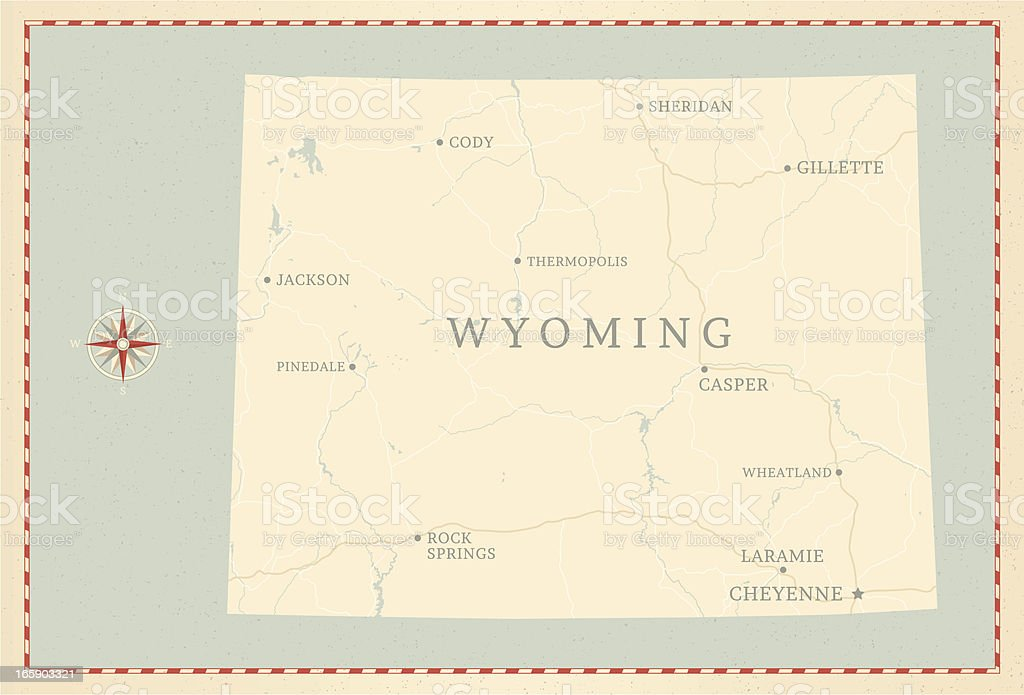 Vintage-Style Wyoming Map royalty-free stock vector art