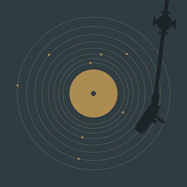 ilustrações, clipart, desenhos animados e ícones de de vinil e sistema solar - toca discos