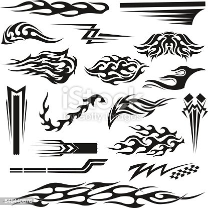 Vinyl art decoration stickers for cars, unique and handmade ornaments, accessory laptop, mug, binders, bike, planner. Vector flat style illustration isolated on white background