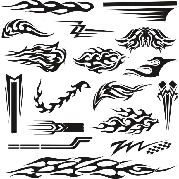 vinyl decoration black graphic collection - fire tattoos stock illustrations, clip art, cartoons, & icons