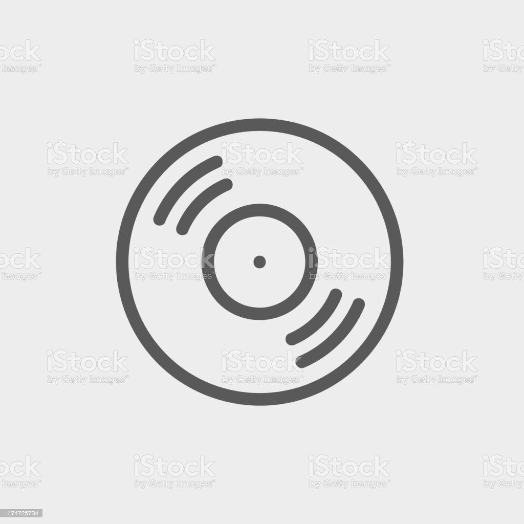 Vinyl disc thin line icon vector art illustration