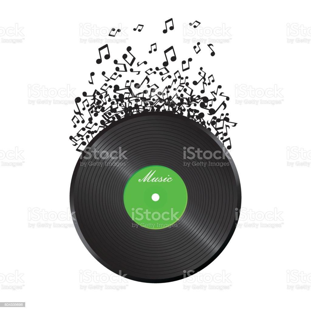 Ilustración de Disco De Vinilo Con Sonido Nota De Vuelo Ilustración ...