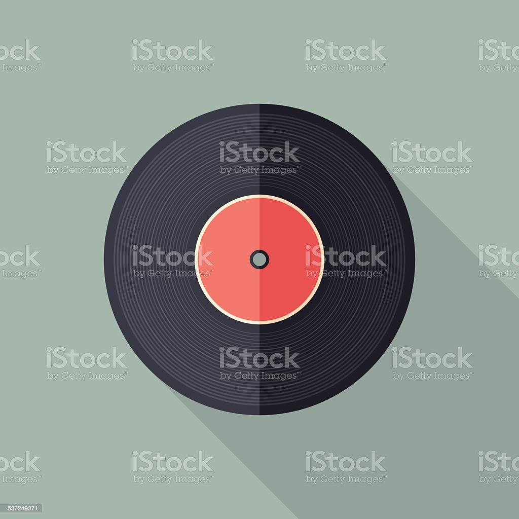 Vinyl flat square icon with long shadows. vector art illustration