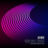 Vinyl grooves as neon lines background. With 80s vapor wave style for dj mix cover