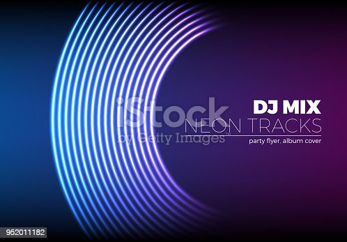 Vinyl grooves as neon lines background. 80s vapor wave style for dj mix cover