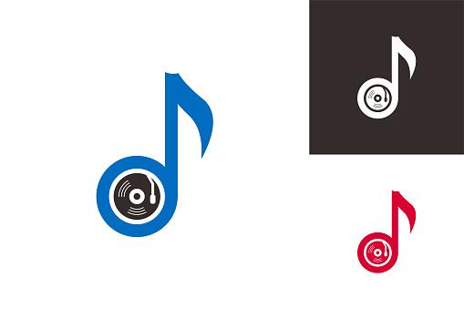 Vinyl Music Logo Template Design Vector, Emblem, Design Concept, Creative Symbol, Icon