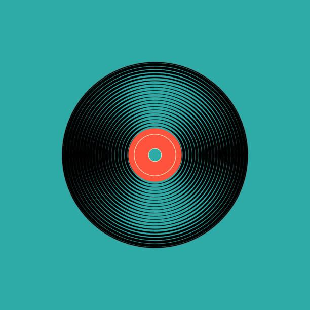 stockillustraties, clipart, cartoons en iconen met vinyl muziek record. vintage grammofoon schijf. vectorillustratie - vinylplaat