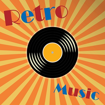 Vinyl music record with the text retro music