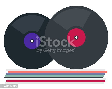 istock Vinyl plates of different sizes vector flat isolated 1224417480